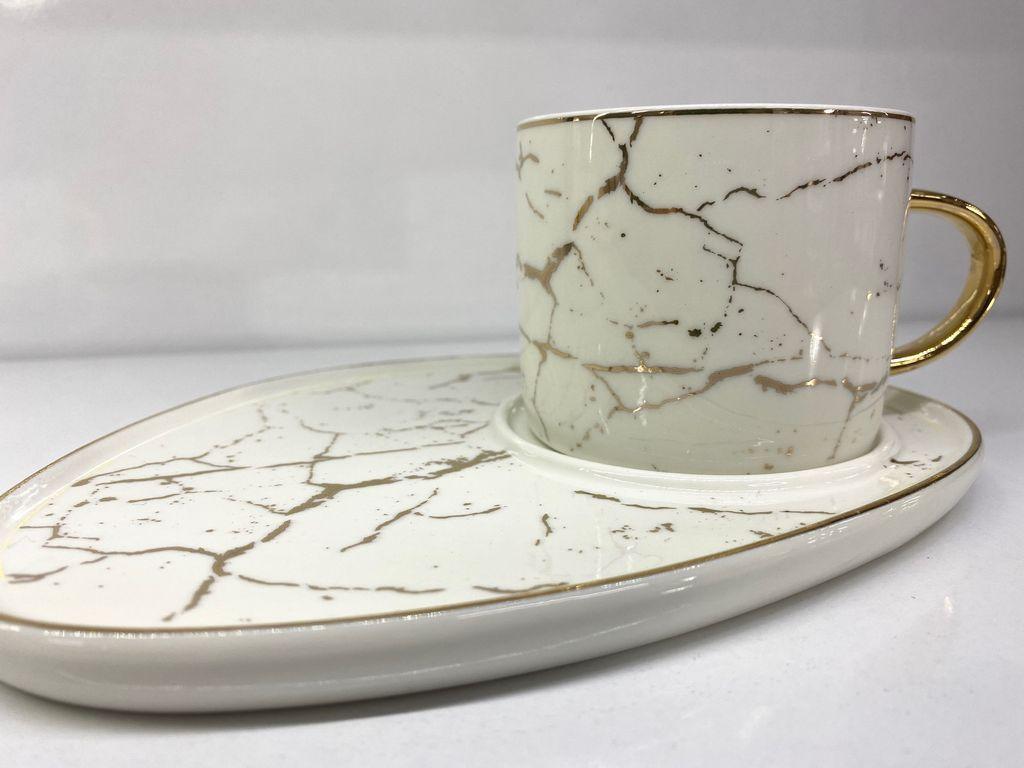 Porzellan Kaffeetassen Set Marmor Design Schwarz 6 Tassen Unterteller Kaffee Tee