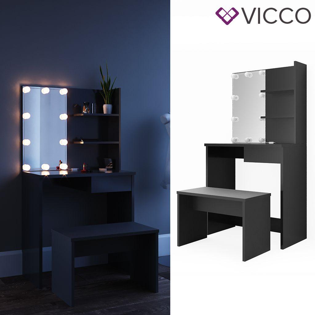 Vicco Schminktisch Schwarz mit LED und Bank Kosmetiktisch Frisierkommode  Frisiertisch Spiegel Make Up