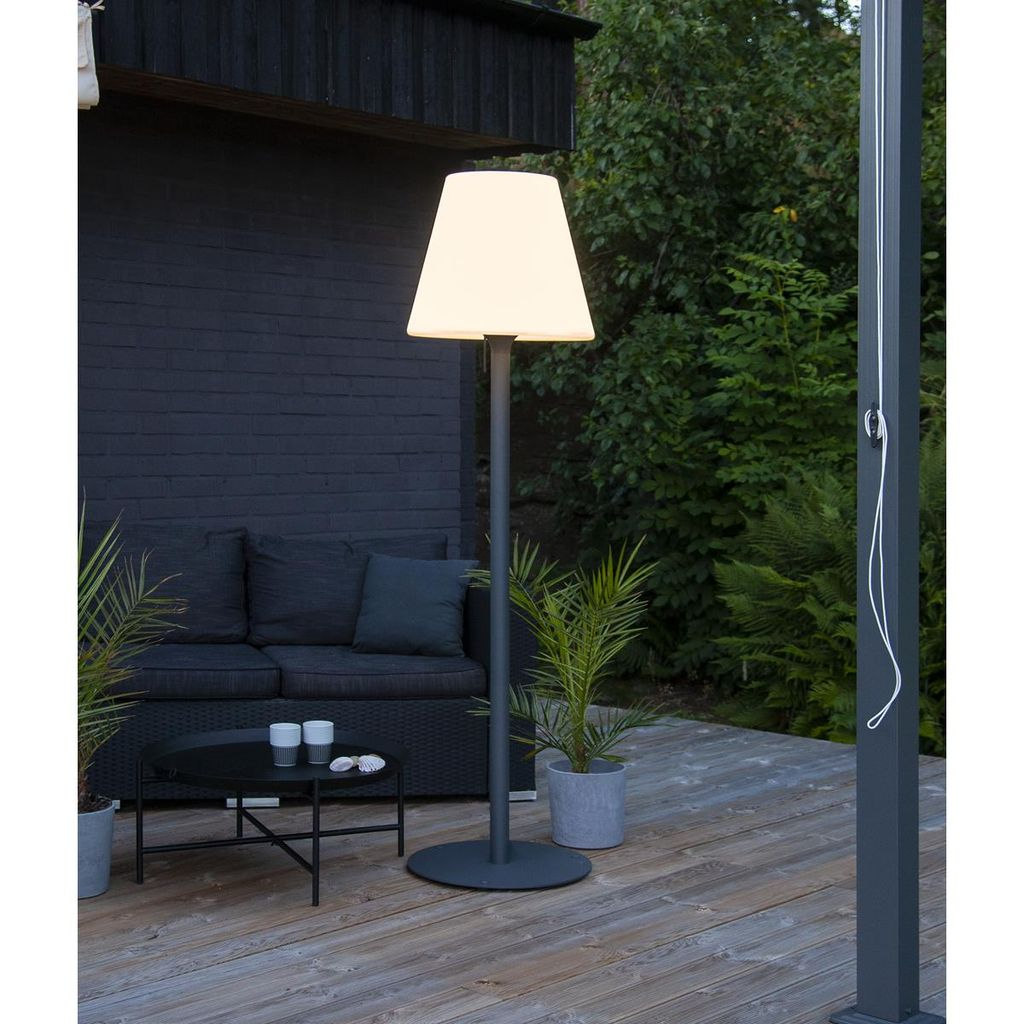 Garten Beistelllampe/Stehlampe   H 20cm   weißer Lampenschirm, D 20cm    E20 Fassung   Outdoor