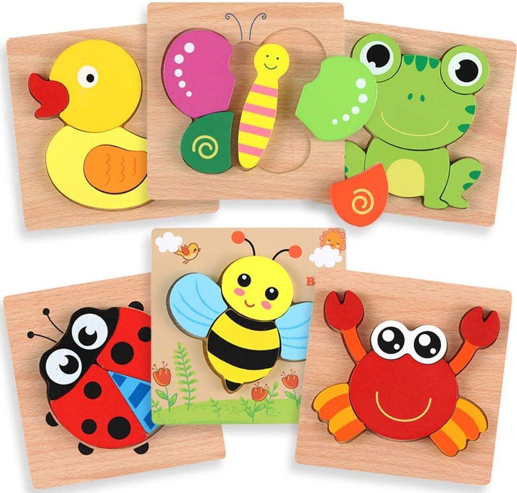 Tiere Holz Puzzle 9 Puzzles Spiel Pädagogisches Spielzeug Kinder Jigsaw