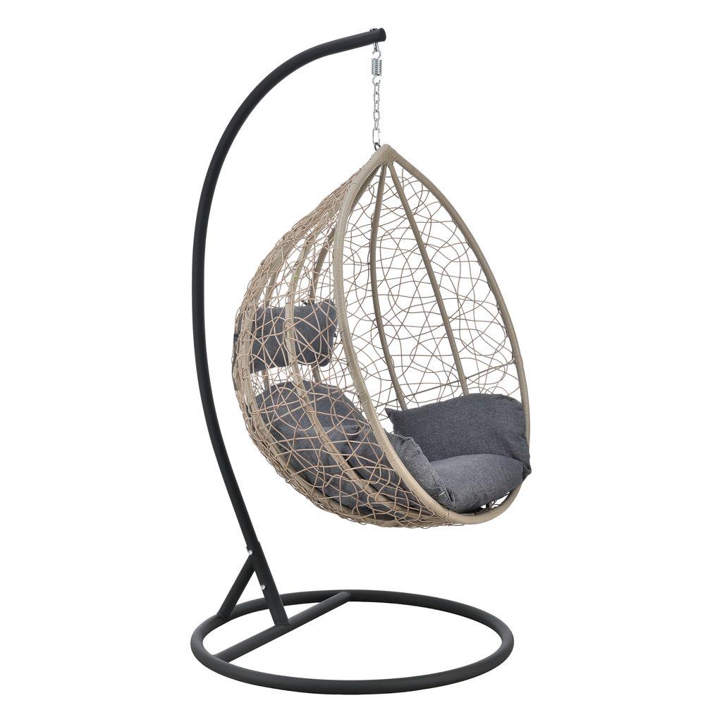 Hängesessel Capileira 20 Sitzer Outdoor Hängestuhl mit Gestell und Kissen  Hängekorb bis 2050 kg Braun/Dunkelgrau