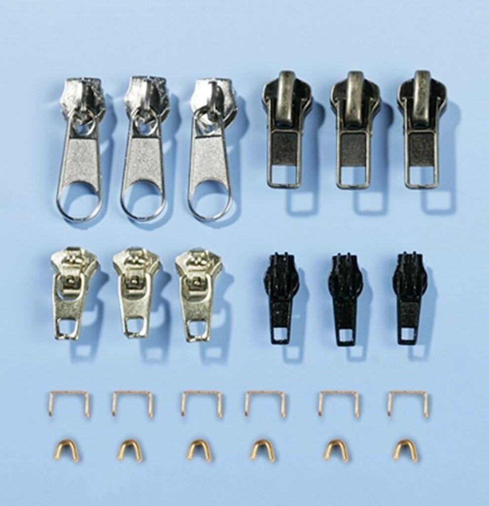 6er Set Reißverschluss Zipper Reparatur Ersatz Fixierung Schieber Ersatzkopf