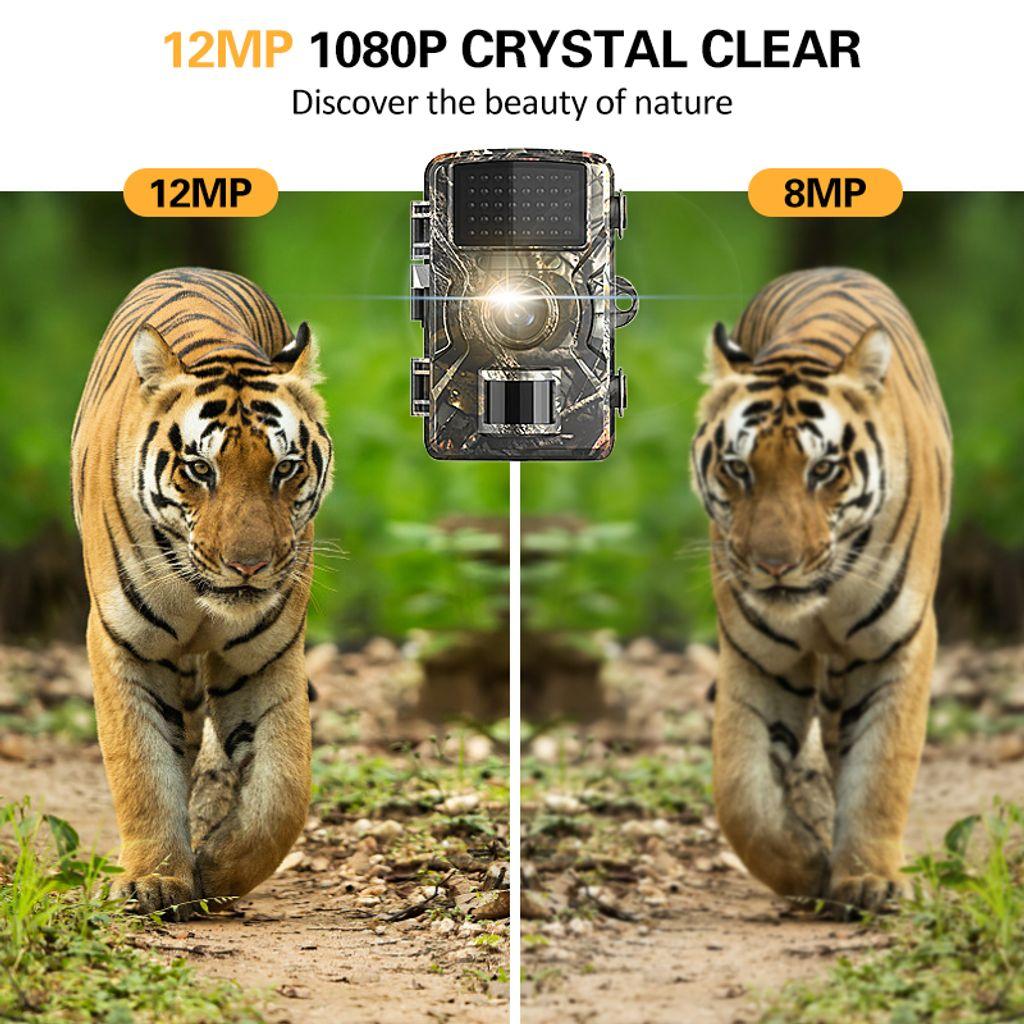 Tracking-Kamera 12MP Kamera Wald 1080P Sport-Kamera IP66 Nachtsicht-Kamera Jagd Foto W/ärmebildkamera Trapping