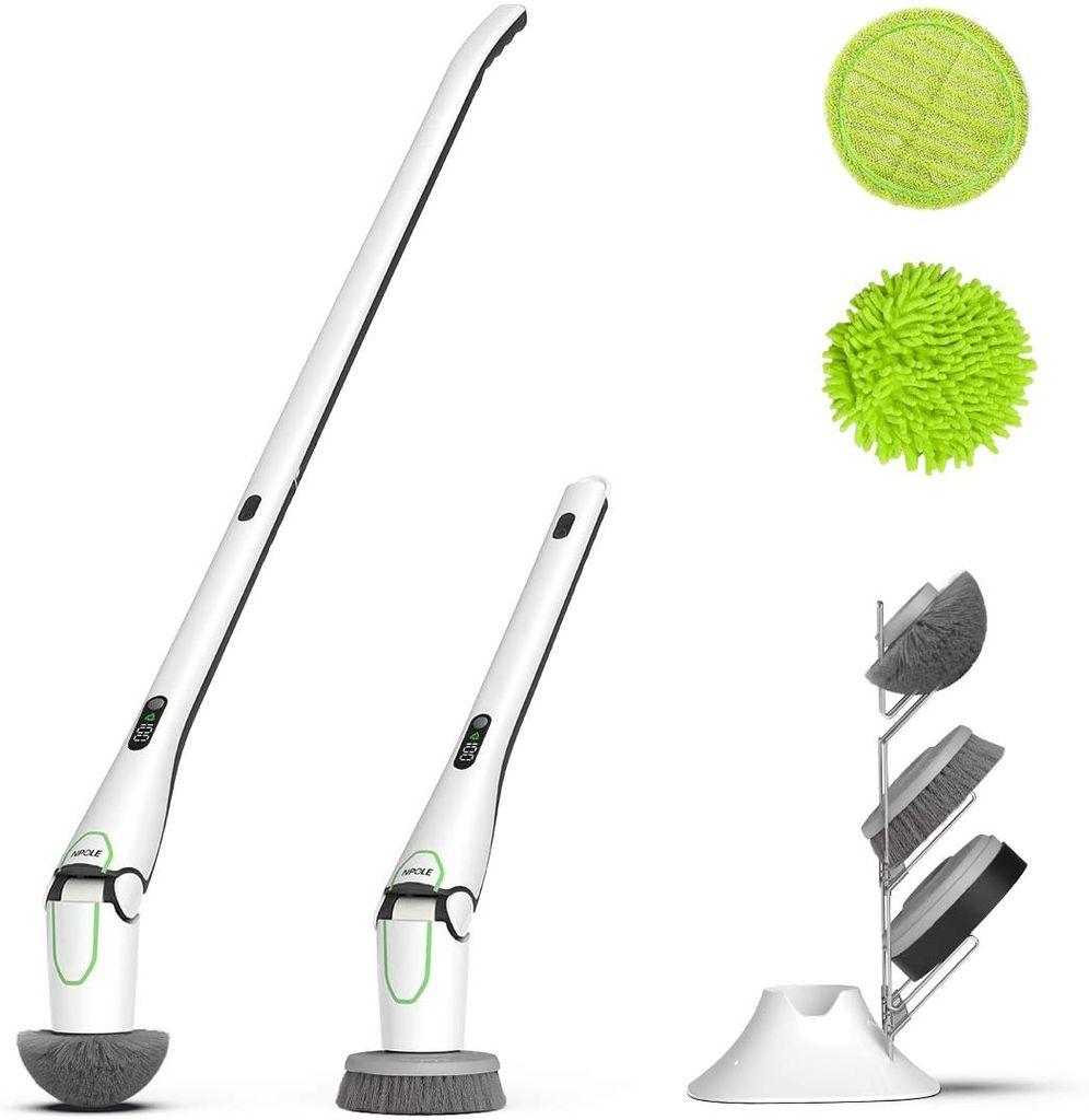 Elektrische Reinigungsbürste Kabellos Akkureinigungsbürste mit 20  Bürstenköpfen Multibürste mit LED Verlängerungsgriff 20 Minuten Arbeit  Kabellos für ...