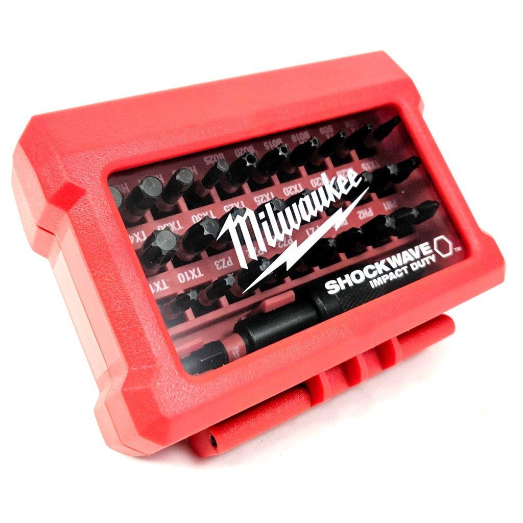 Schlagnuss,Bit Milwaukee SHOCKWAVE Set 31 tlg Bithalter