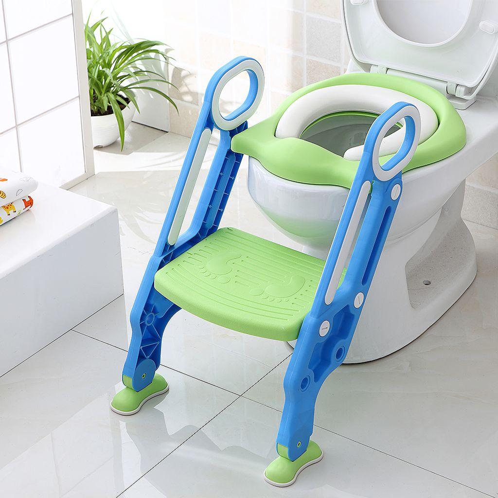 Töpfchentrainer Kinder Töpfchen Toilettensitz mit Leiter Töpfchen Sitz für  ToilettenBlau)