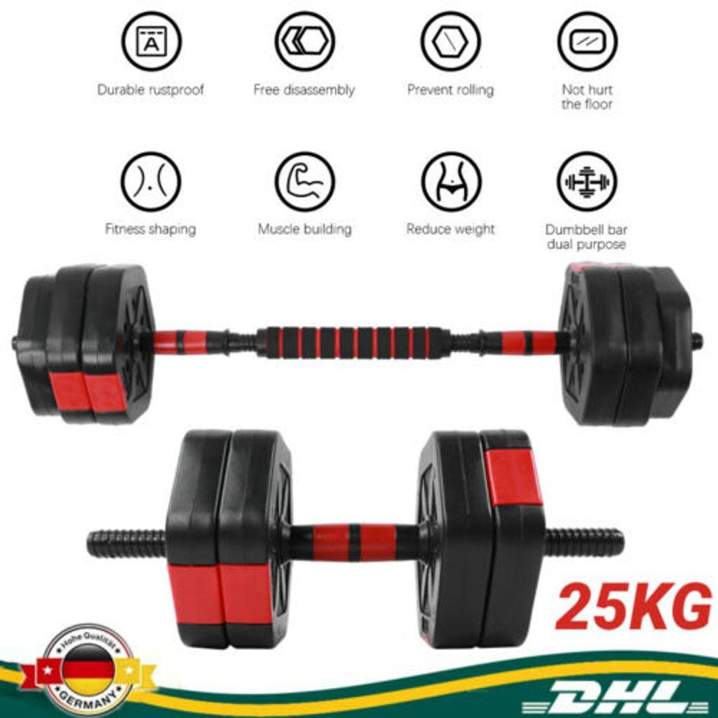 Hantelscheiben Hartgummi Home Gym Krafttraining Langhantel Set Gewichte 2x 2,5KG
