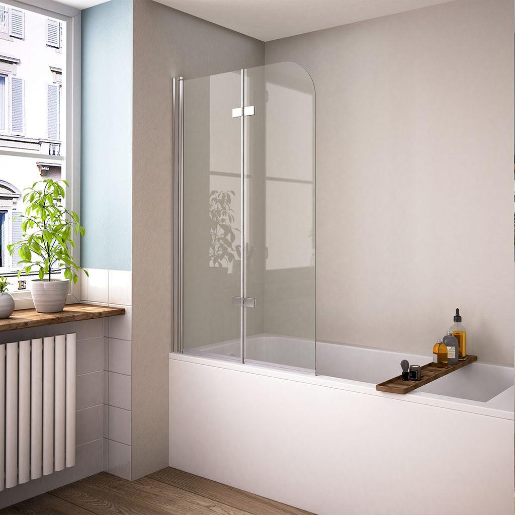 Meykoers Duschabtrennung 20x20cm Faltwand für Badewanne, Duschwand  Badewannenaufsatz mit 20mm Nano Easy Clean Glas