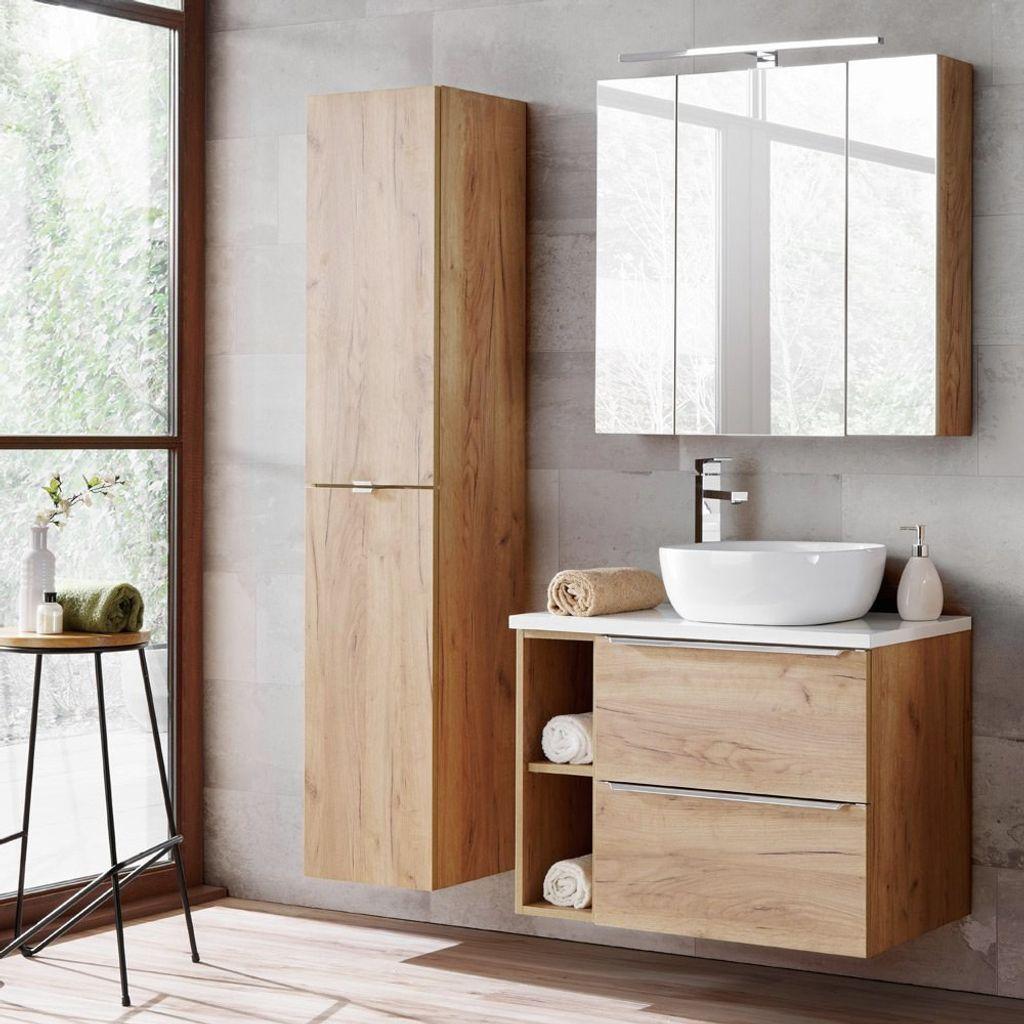 Badezimmermöbel Set mit LED Spiegelschrank TOSKANA 20 Wotaneiche & weiß  Hochglanz, BxHxT ca. B/H/T 20/20/20cm