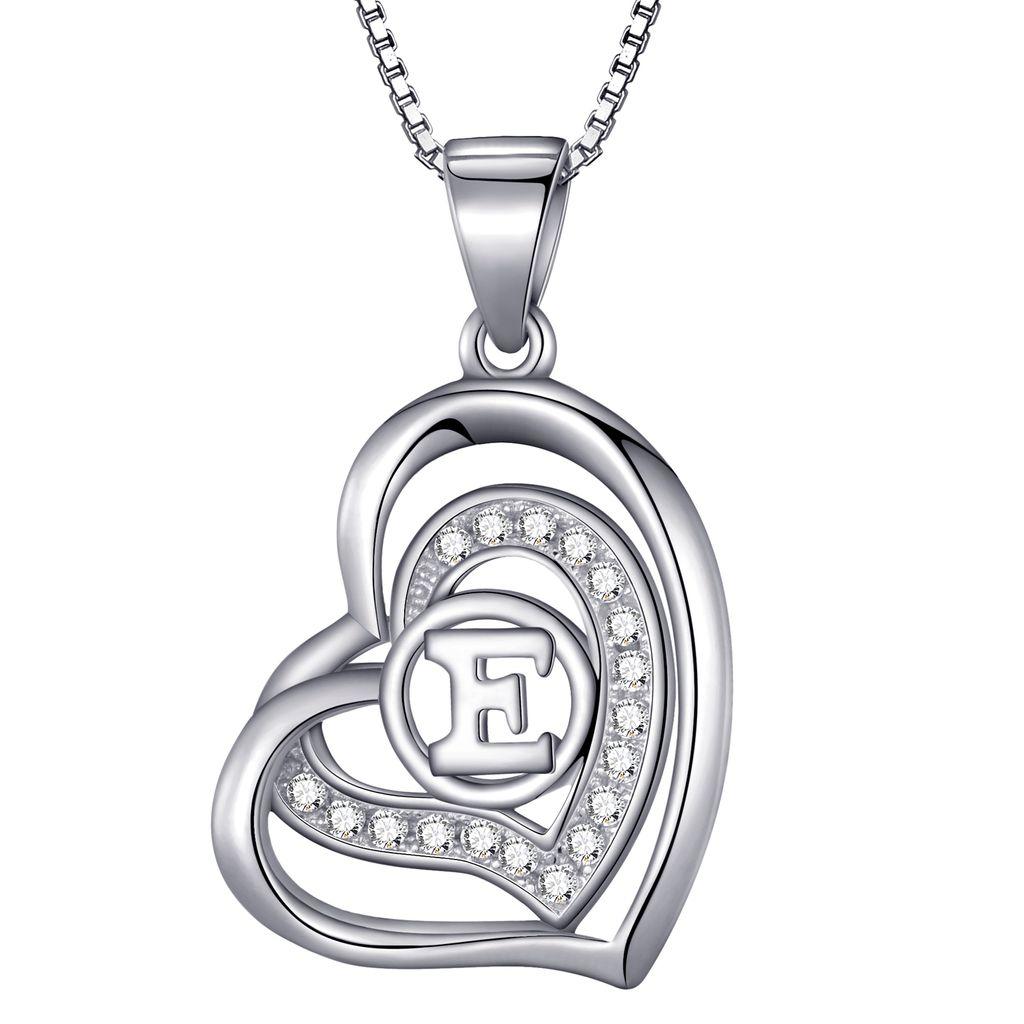 Halskette Buchstaben Anhänger Silber Farbe Schmuck Ketten Geschenk Restposten