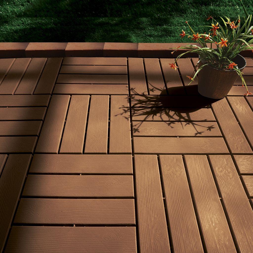 Terrassen Platten, Klick Fliesen Holz Optik Boden Balkon Kunststoff