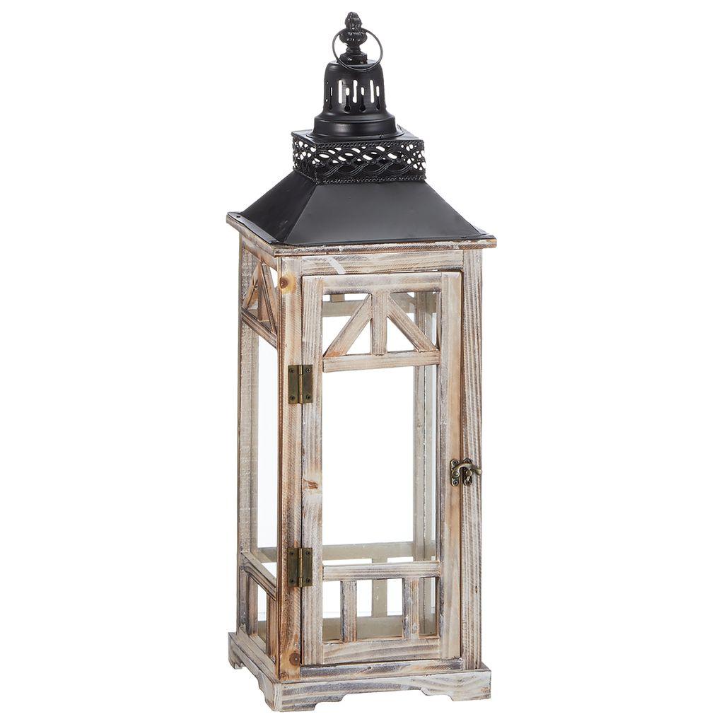 Chic Laterne in antik weiß Henkel Glaseinsatz Shabby Große Laterne Holz Look