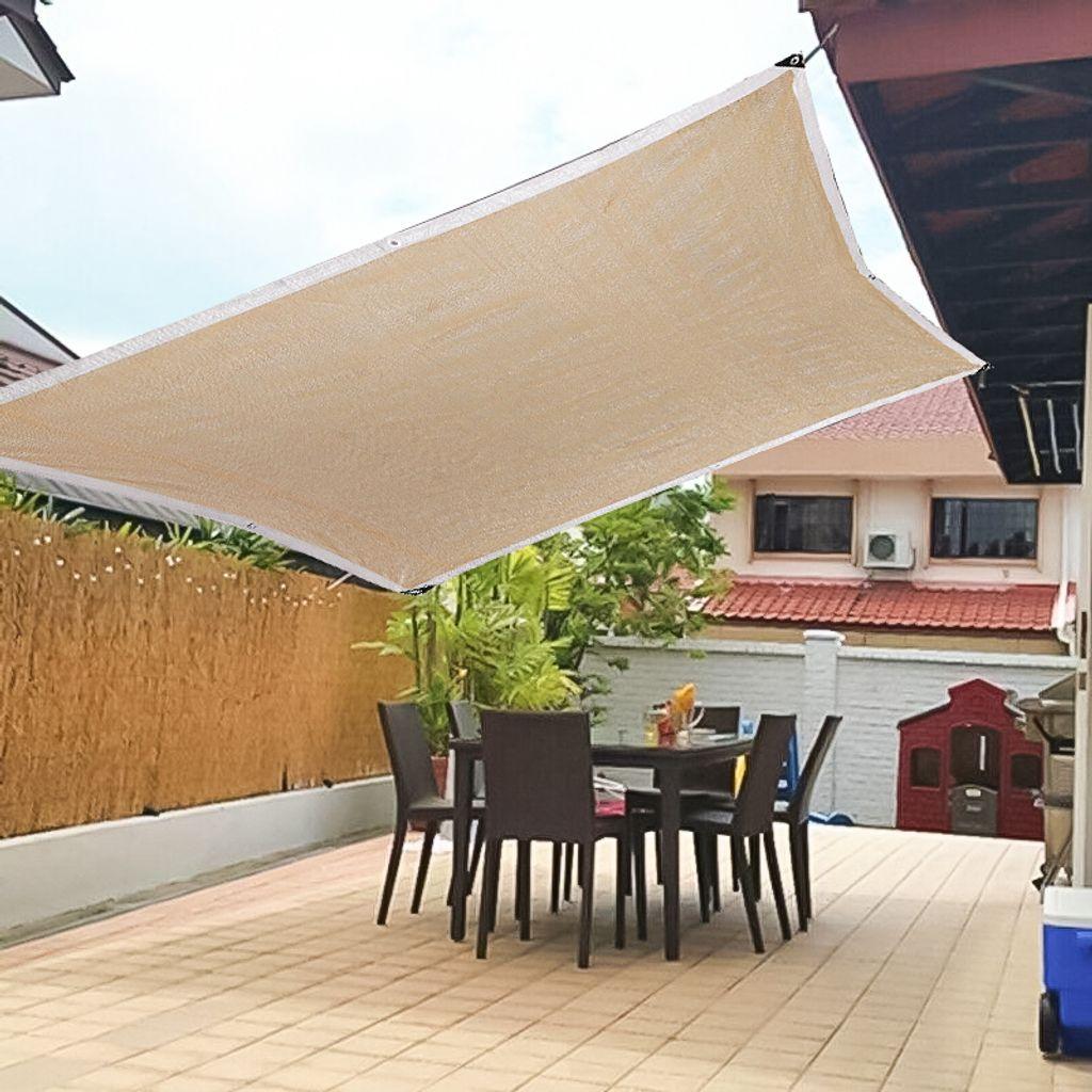 Meco Sonnensegel Rechteckig 200x200m Sonnenschutz Atmungsaktiv UV Schutz für  Balkon Terrasse Garten,Beige