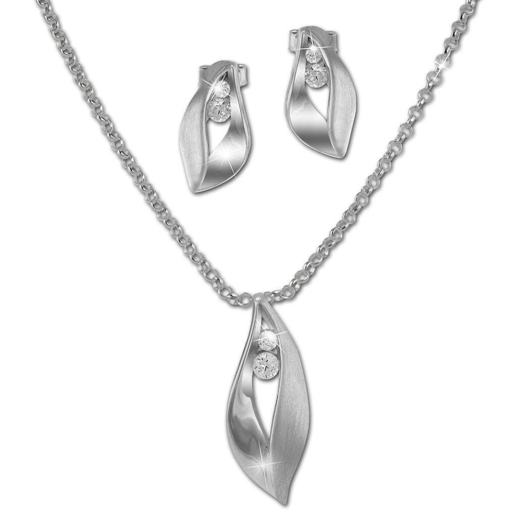 925 Silber Plattierte Ohrringe und Collier im Set Zirkonia Schmuckset Halskette