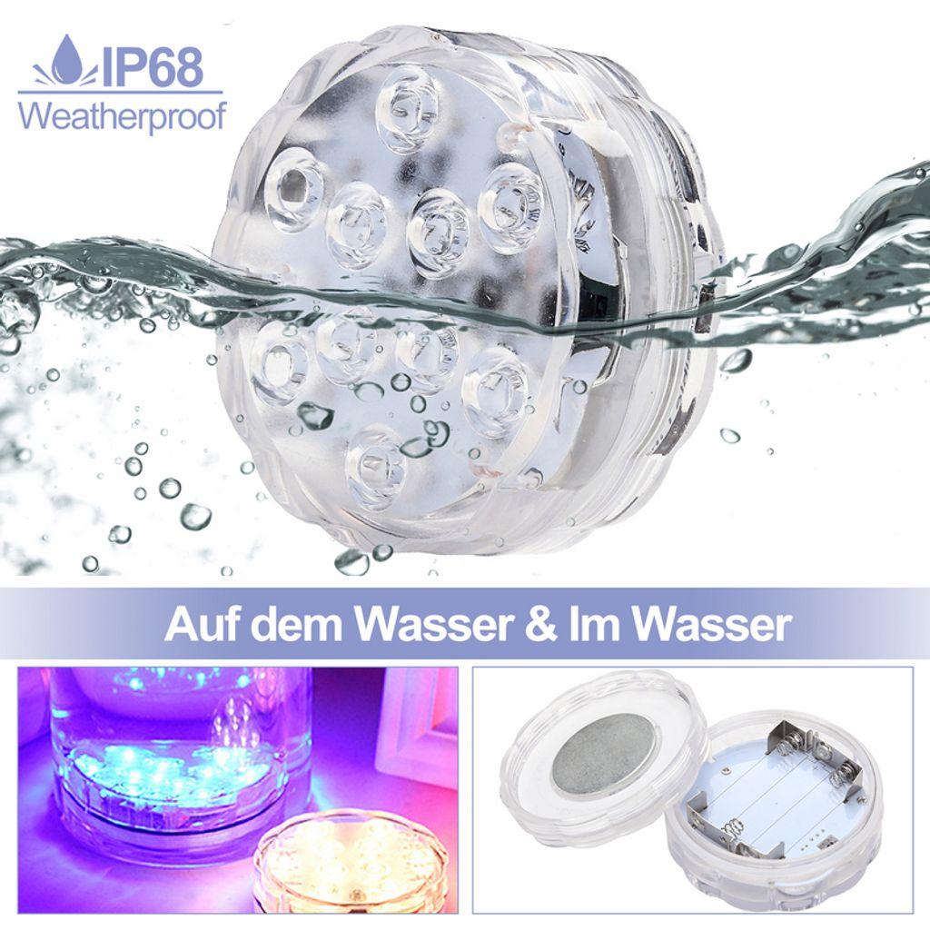 4X RGB Unterwasser Licht Unterwasser LED Lampe IP68 Pool Dekobeleuchtung
