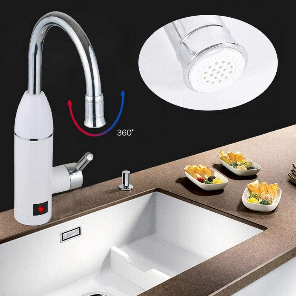 Elektrischer Durchlauferhitzer Warmwasserbereiter Wasserhahn mit  LED Temperaturanzeige für Küche und Bad 20V 20W Silber