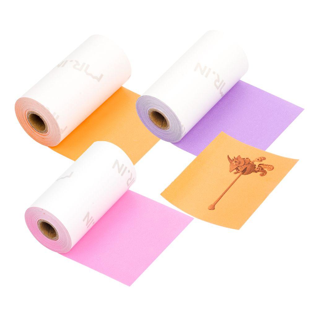 Aibecy 3 Rollen Selbstklebendes Thermopapier Schwarz auf Pink Sakura 53 mm 3,5 m Kompatibel mit Phomemo M02 M02S Thermodrucker