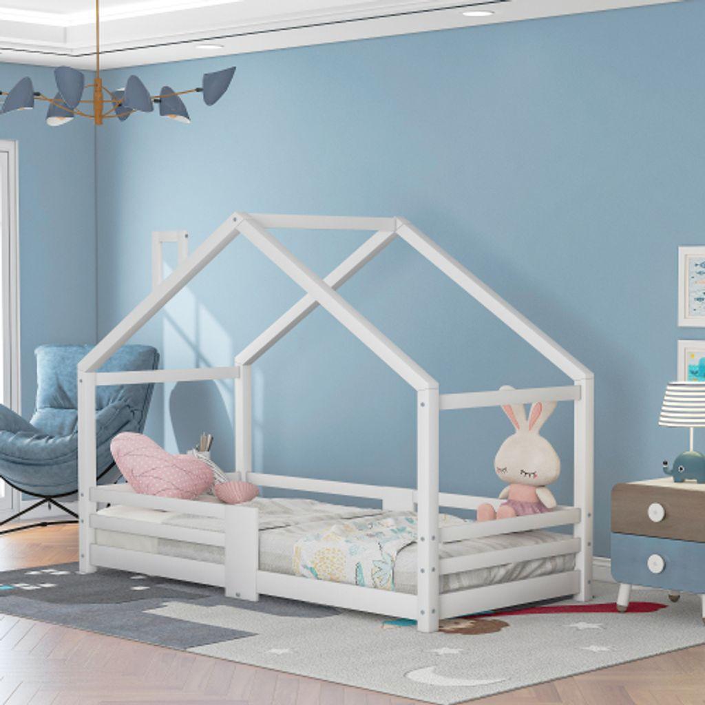 Kinderbett Hausbett Rausfallschutz Lattenrost Natur Kinderhaus