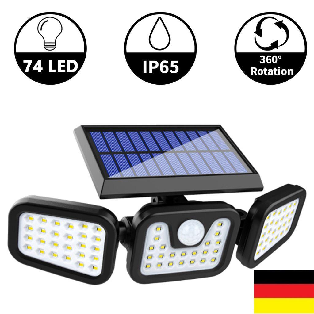 Solarleuchten für Außen 56 LED Außen solarlampen mit Bewegungsmelder wandleuchte