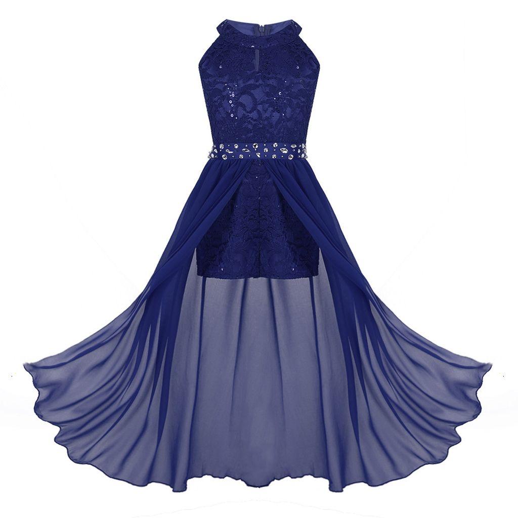 IEFIEL Mädchen Prinzessin Spitze Blumenmädchen Kleider für Hochzeits  Brautjungfern Festzug Party Kleid,Gr.9 9
