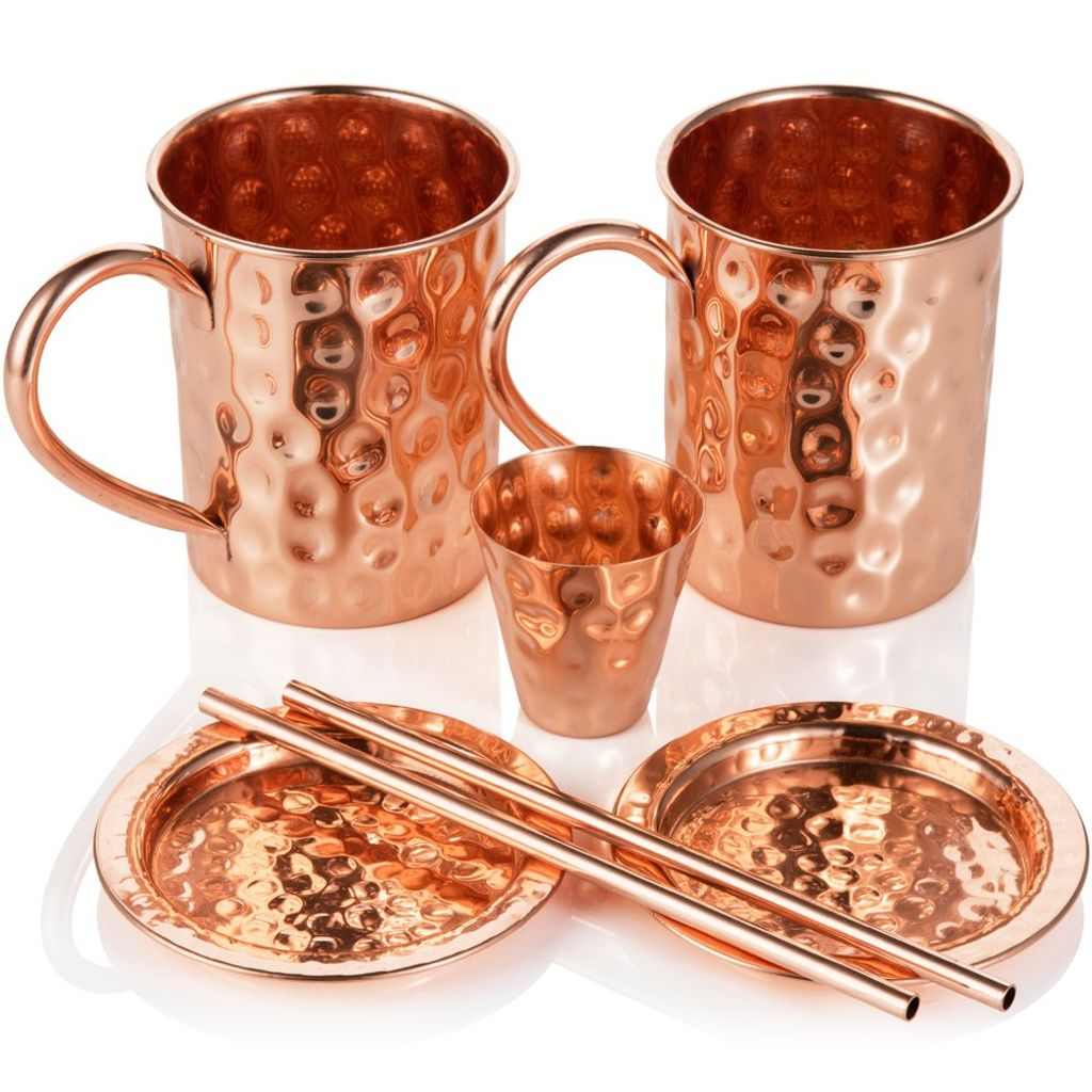 2x Moscow Mule Trinkbecher Tasse Wein Trinken Gehämmert Kupfer Edelstahl 60ML