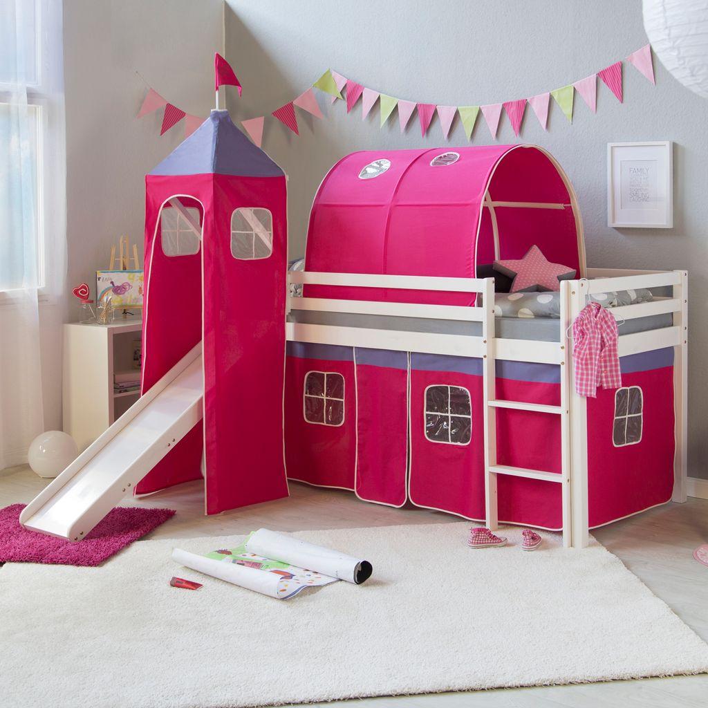 Homestyle12u 12, Kinder Hochbett Mit Rutsche, Leiter, Turm,Tunnel, Vorhang  Pink, Massivholz Weiß, 12x12 cm