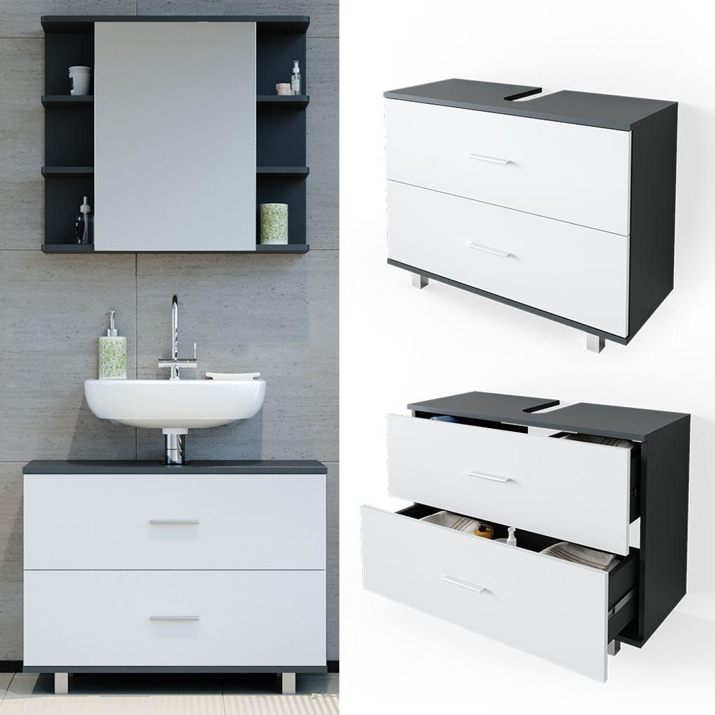VICCO Waschbeckenunterschrank ILIAS Weiß Anthrazit Schublade Unterschrank  Badezimmer