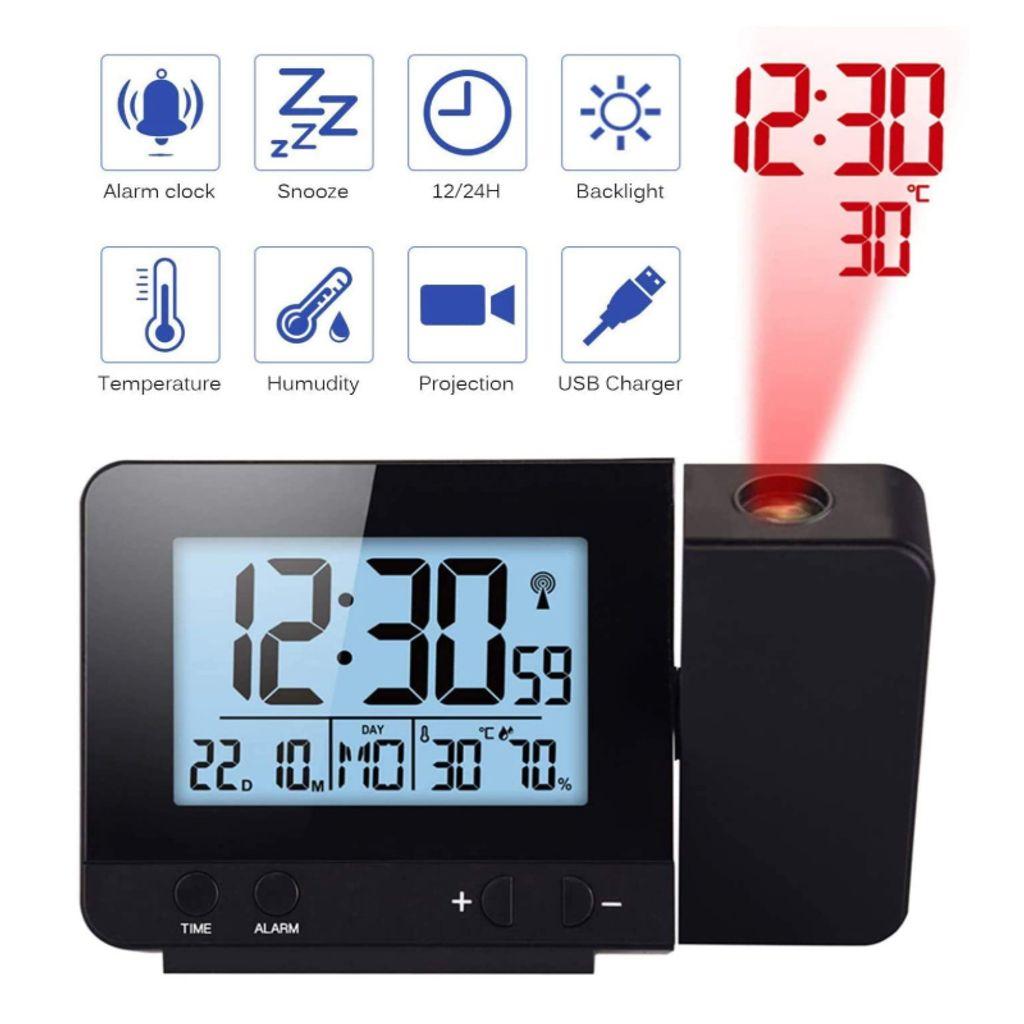 Digital LED LCD Wecker Alarm Clock Tischuhr mit Projektion Temperaturanzeige DE