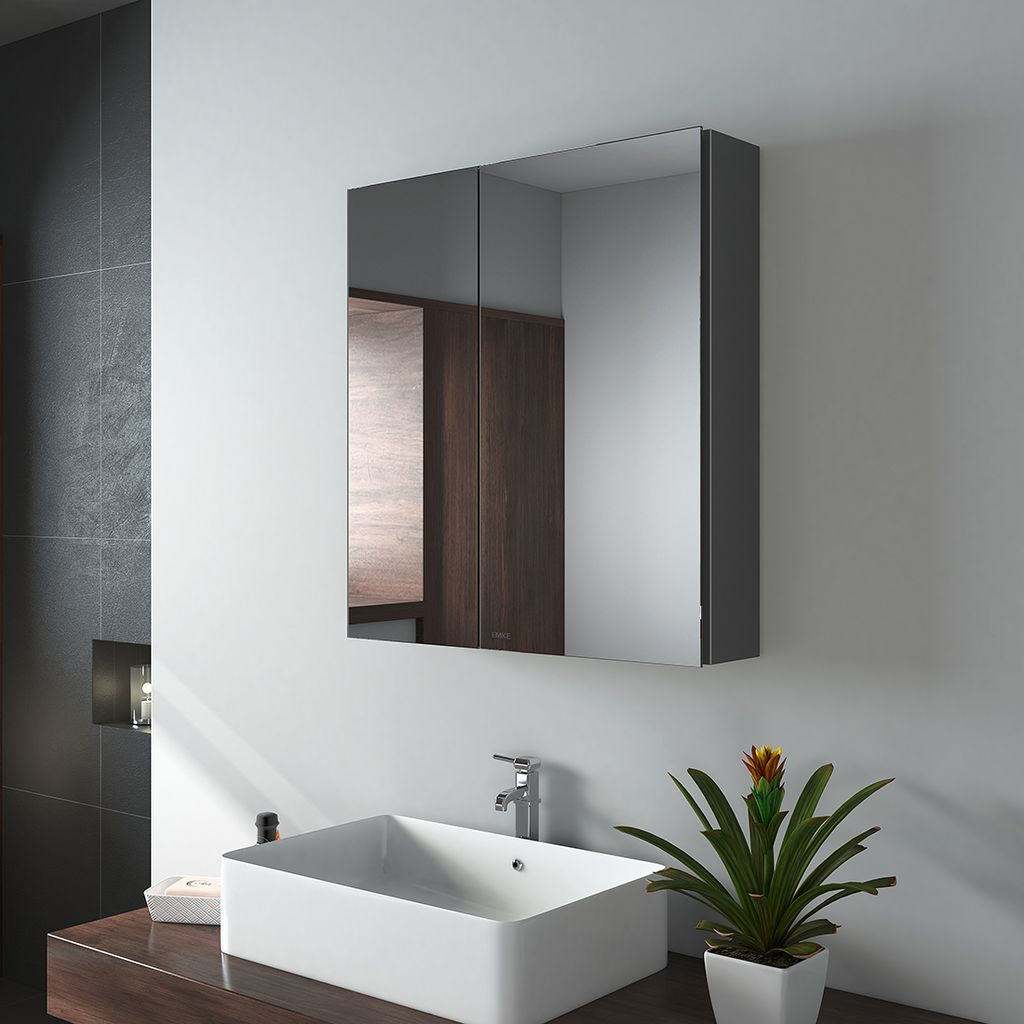 EMKE Spiegelschränke, 20x20cm Bad Spiegelschrank Badschrank mit  Doppelseitiger Spiegel Grau