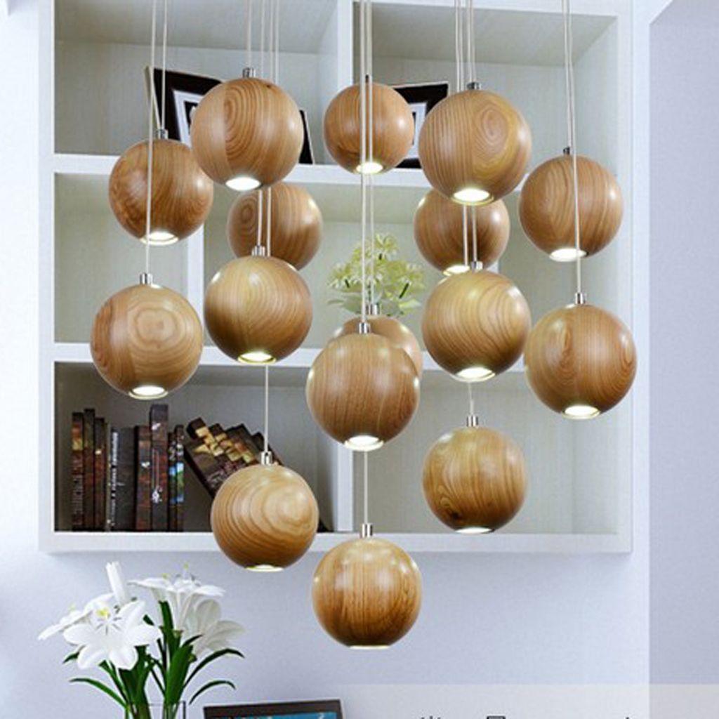 Holz Hängende Lampe Kronleuchter Decke Lampenschirme mit G12 LED Glühbirne  Wohnzimmer Haus Dekoration Roh