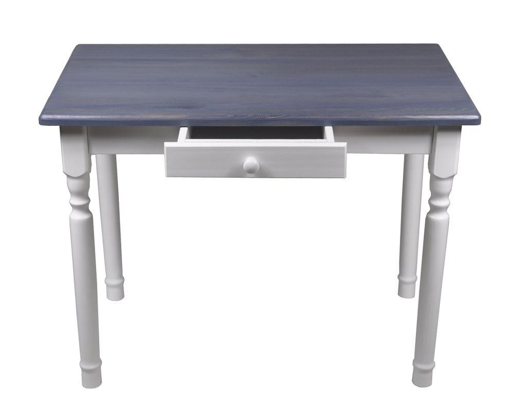 Esstisch mit Schublade Küchentisch Tisch Massiv Kiefer Speisetisch massiv  9x9 cm, Grau