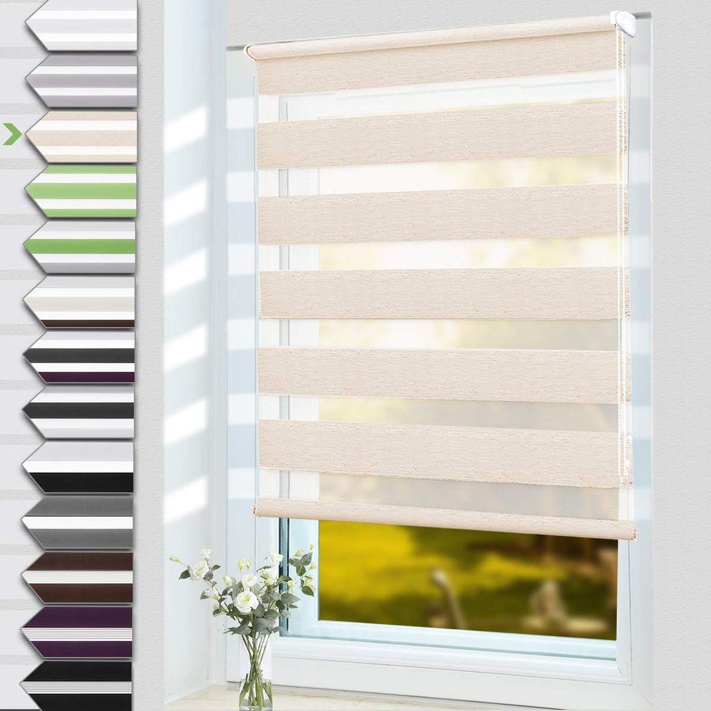 OUBO Doppelrollo Klemmfix ohne Bohren 20 x 20 cm BxH Natur Fenster Duo  Rollo   lichtdurchlässig und verdunkelnd Wandmontage Deckenmotage ...