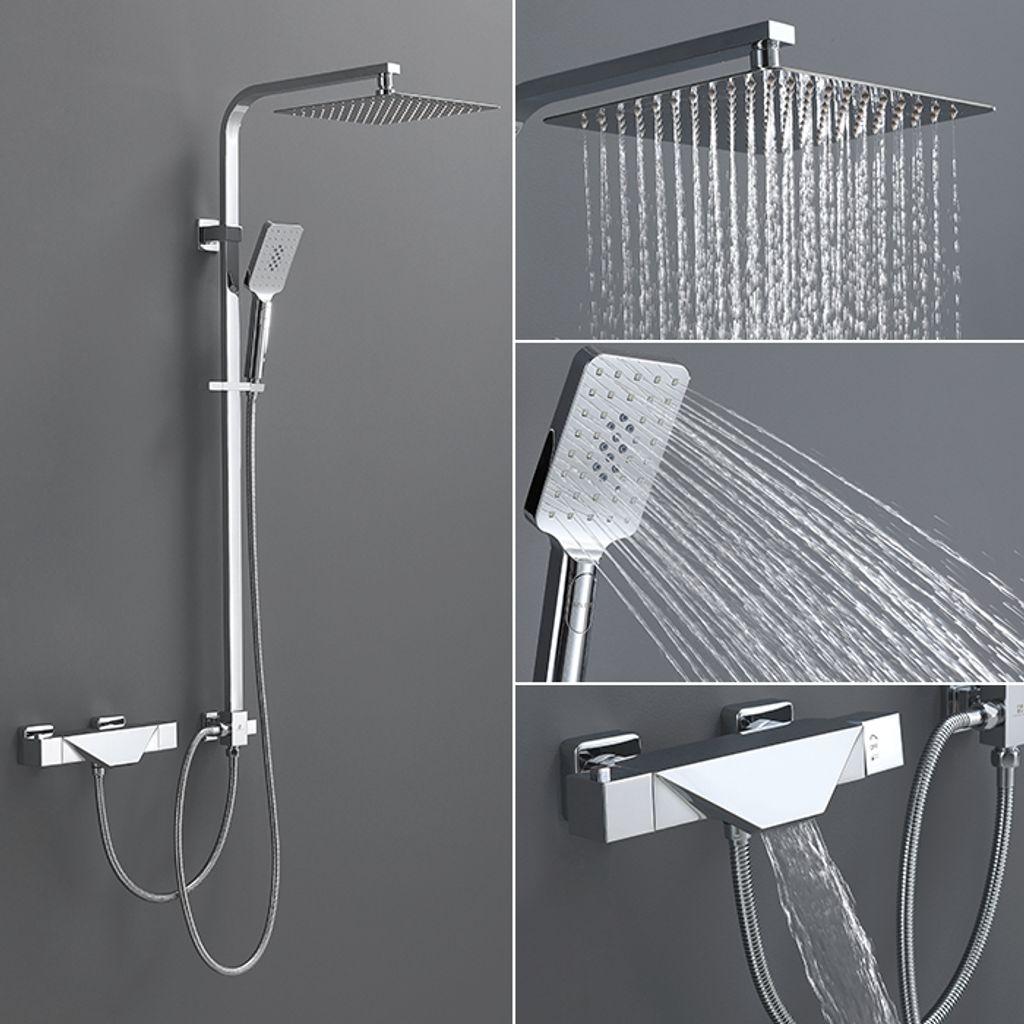 Thermostat Duschsystem mit Trennbar Badewannenarmatur Wasserfall  Duscharmatur Duschset 20 Funktion Handbrause Überkopfbrause Duschstange  Regendusche ...