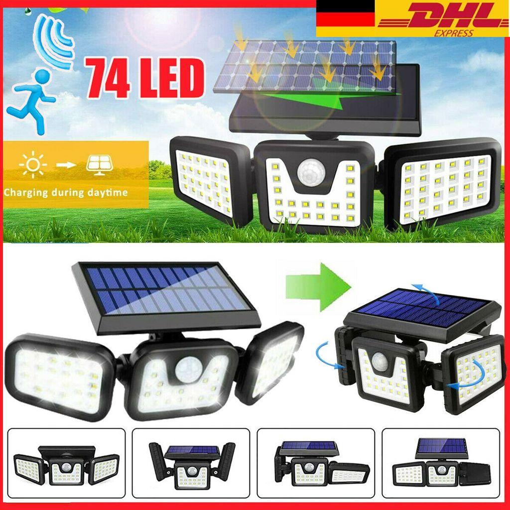 LED Solar Wandleuchte mit Bewegungsmelder Außen Garten Flutlicht Gartenlampe DHL