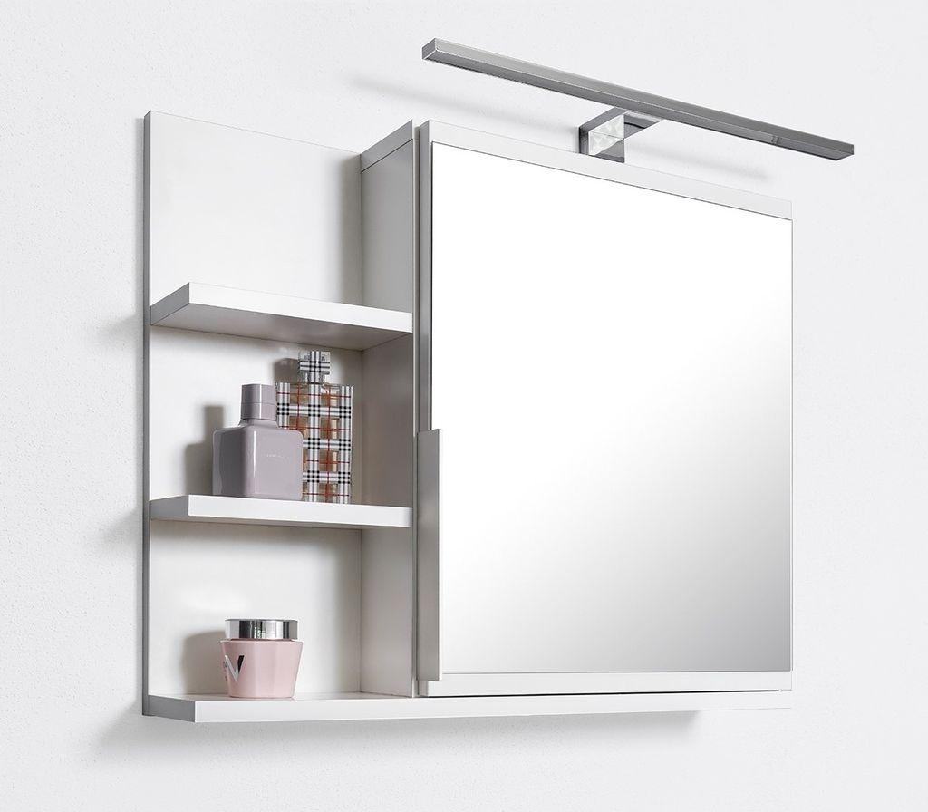 Badezimmer Spiegelschrank mit Ablagen und LED Beleuchtung,  Badezimmerspiegel, Weiß Spiegelschrank, L