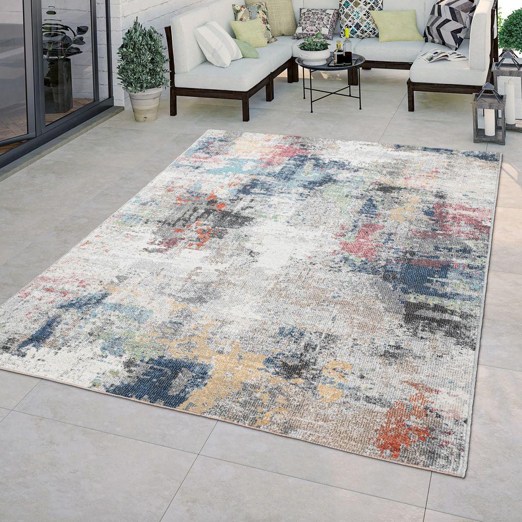20+ In & Outdoor Teppich Terrasse Küchenteppich Vintage Abstraktes Muster Beige  Blau, Größe8x8 cm Stock