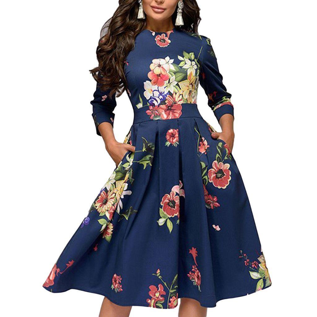 Herbst Frauen Elegante Blume Federdruck 9/9 Ärmel Rundhals A Linie  Kleid Navy blau / GrößeXXL
