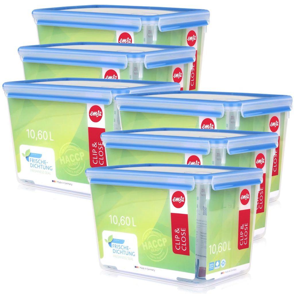 5er Pack 2,6 Liter, Emsa 508545 Rechteckige Frischhaltedose mit Deckel