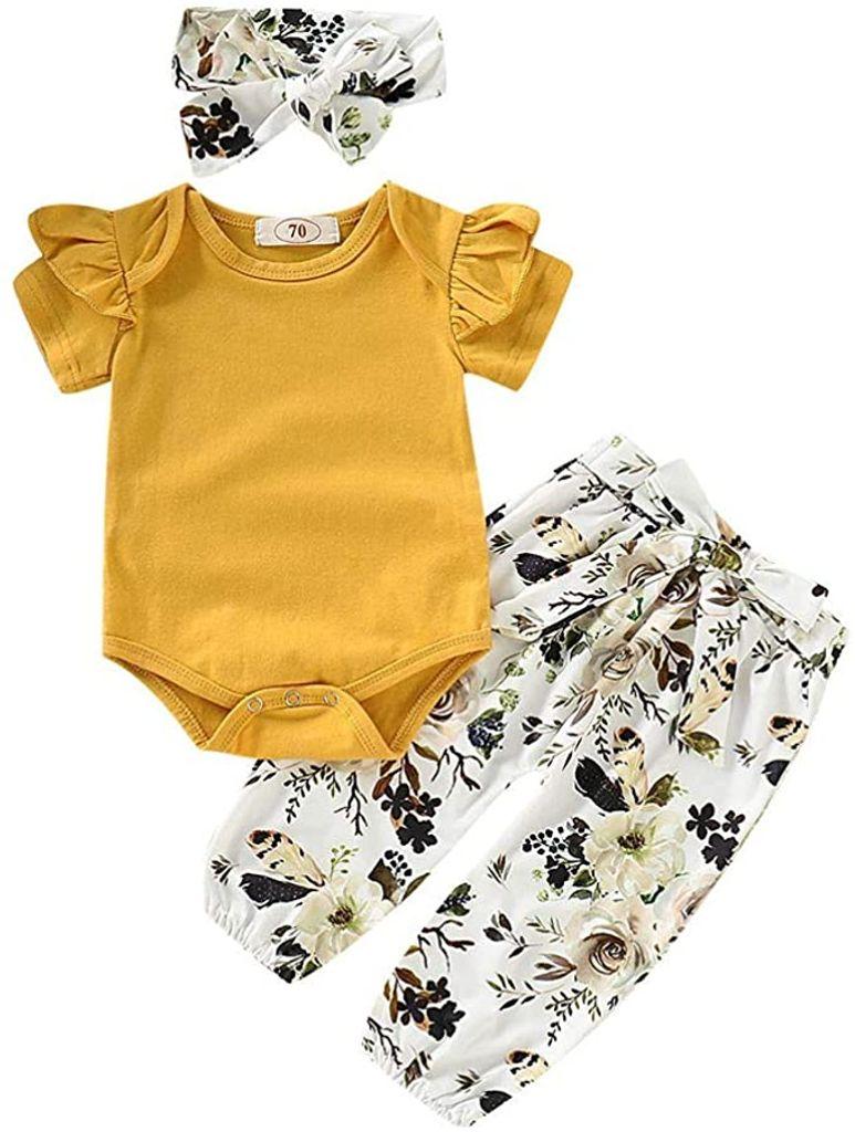 Babykleidung Set Baby Mädchen Kleidung Kurzarm Body Strampler + Hose +  Stirnband Neugeborene Kleinkinder Baumwolle Outfits Set 9 Stück