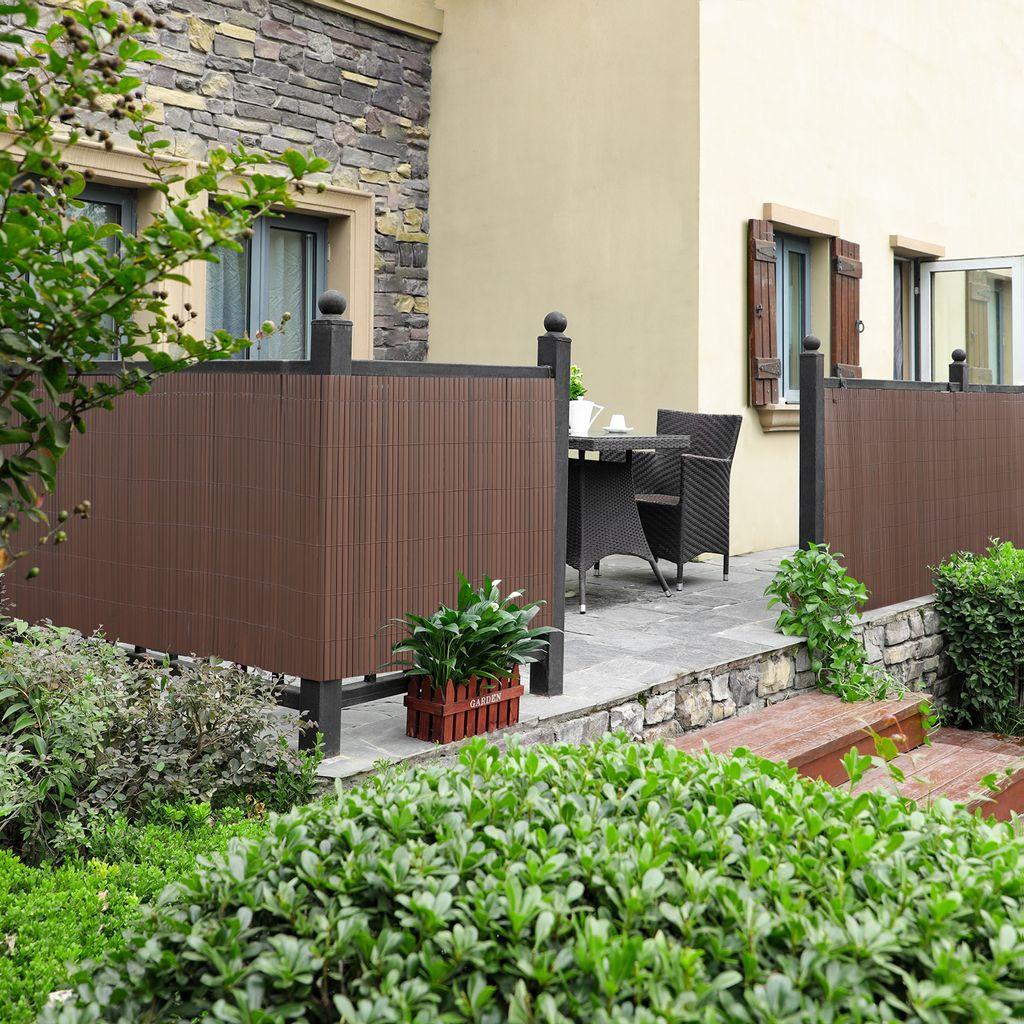 PVC Sichtschutzmatte 20 x 20 cm Sichtschutz stabil für Garten Balkon und  Terrasse Braun SONGMICS GPF20B