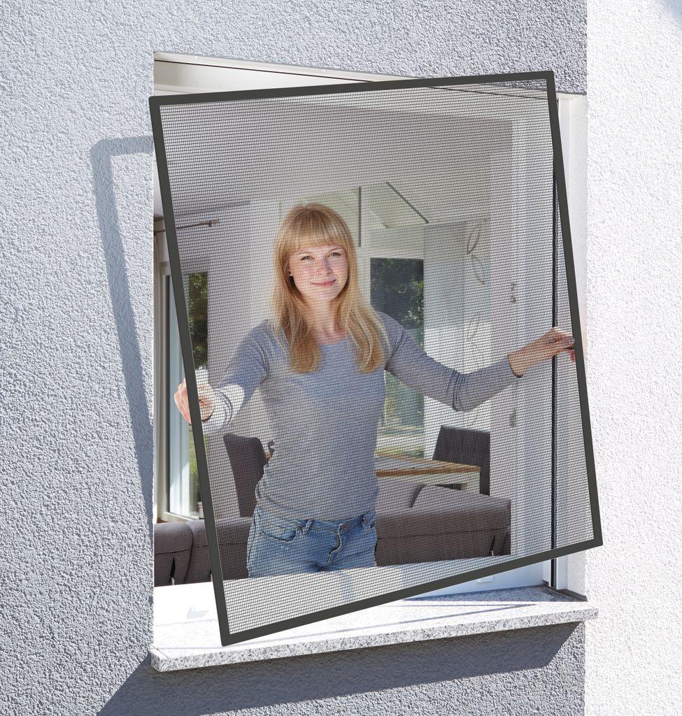 Schellenberg Insektenschutz Fenster BASIC Fliegengitter & Mückenschutz in  Anthrazit – 20 x 20 cm