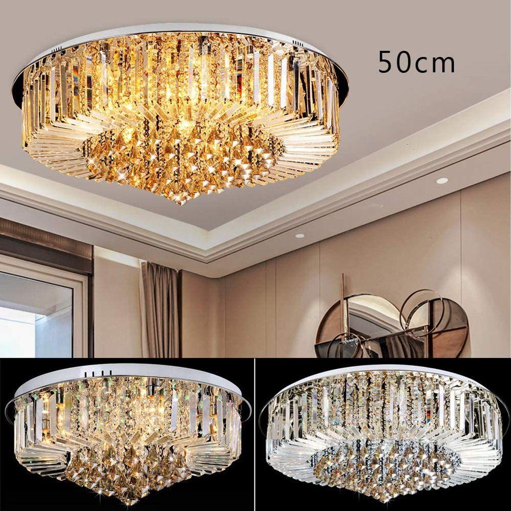 Kronleuchter Kristall Gold Kronleuchter Luxus Deckenleuchte Pendelleuchte  Decke Lampe Leuchte Modern für Esszimmer Wohnzimmer Flur Lounge 12cm ohne  ...