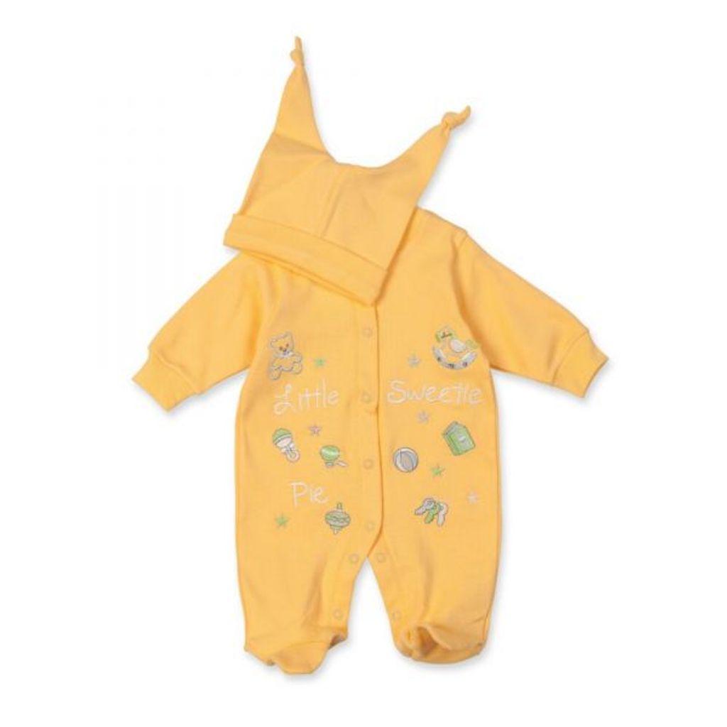 """gelborange Milarda Baby Set Strampler mit Stickerei /""""Little Sweetie/"""" 50-62 Gr"""