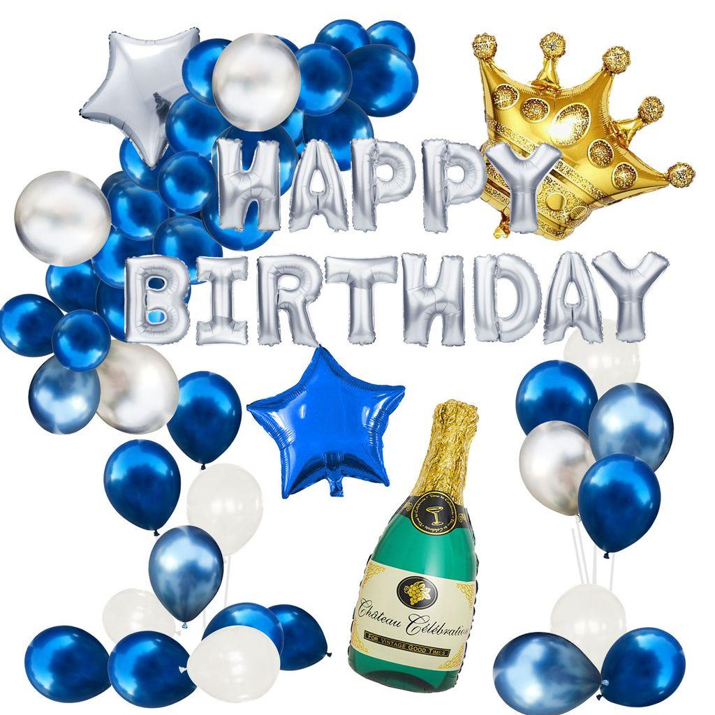 Oblique Unique Happy Birthday Geburtstag Deko Set   Champagner Flasche  Krone Happy Birthday Folienballon Girlande uvm.