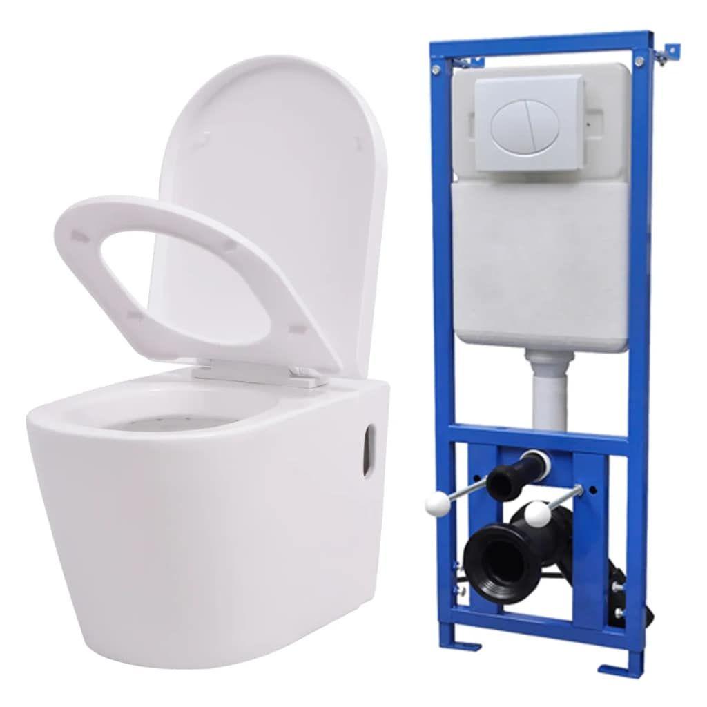 vidaXL Hänge Toilette mit Einbau Spülkasten Keramik Weiß