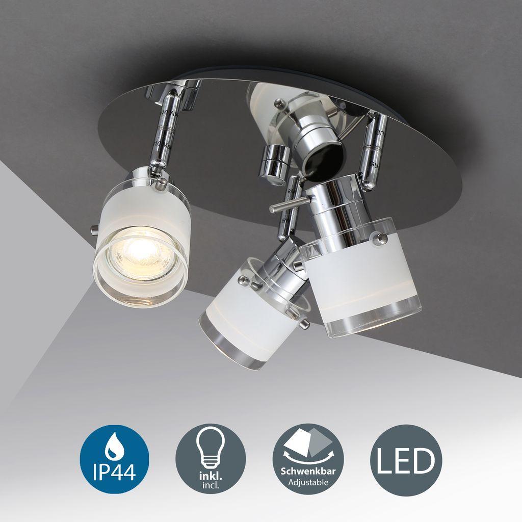 LED Bad Deckenleuchte schwenkbar IP12 Bad Lampe Deckenstrahler Spotleuchte  inkl. GU12 12W Leuchtmittel 12 Lumen warmweiß chrom weiß B.K.Licht