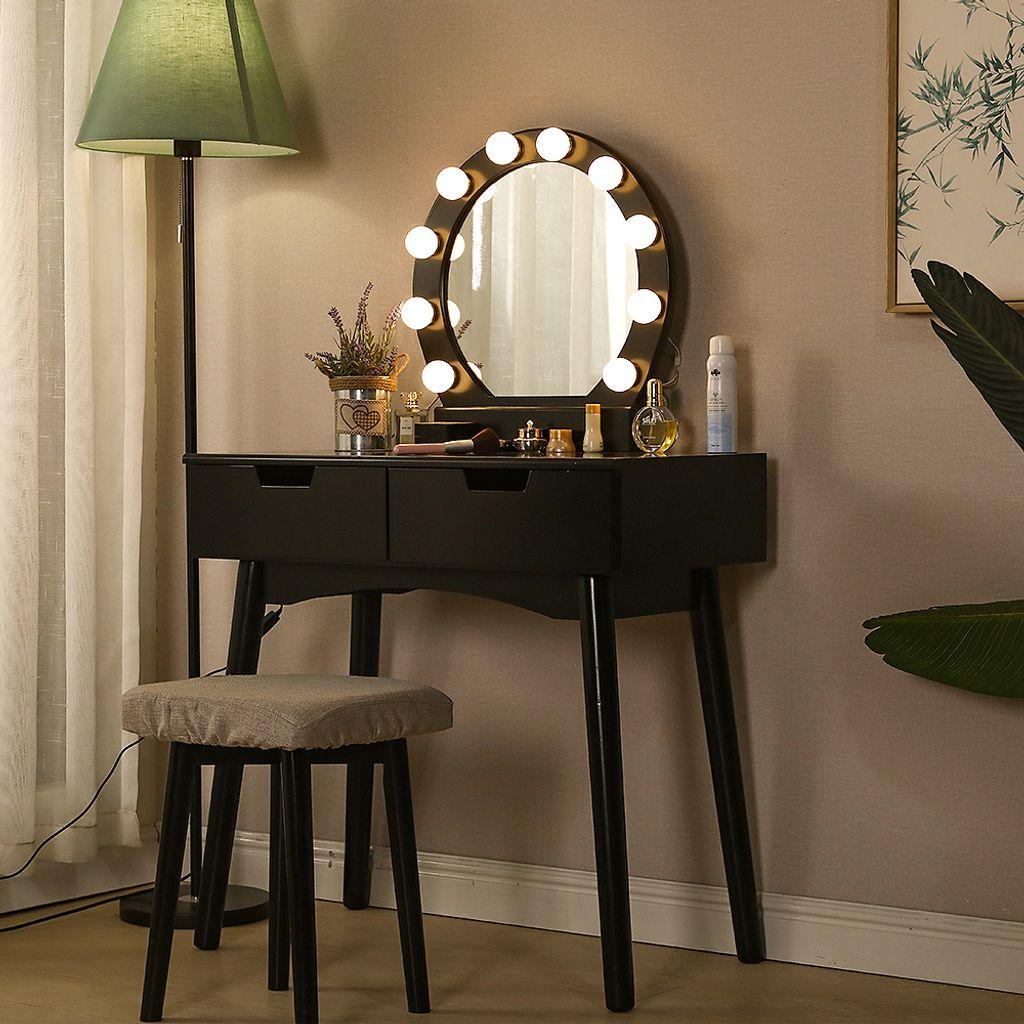 Schminktisch mit LED Beleuchtung, Runder Spiegel, 12 Schublade und Fächern    schwarz   modern   MDF Holz   Frisiertisch Kosmetiktisch Kommode ...