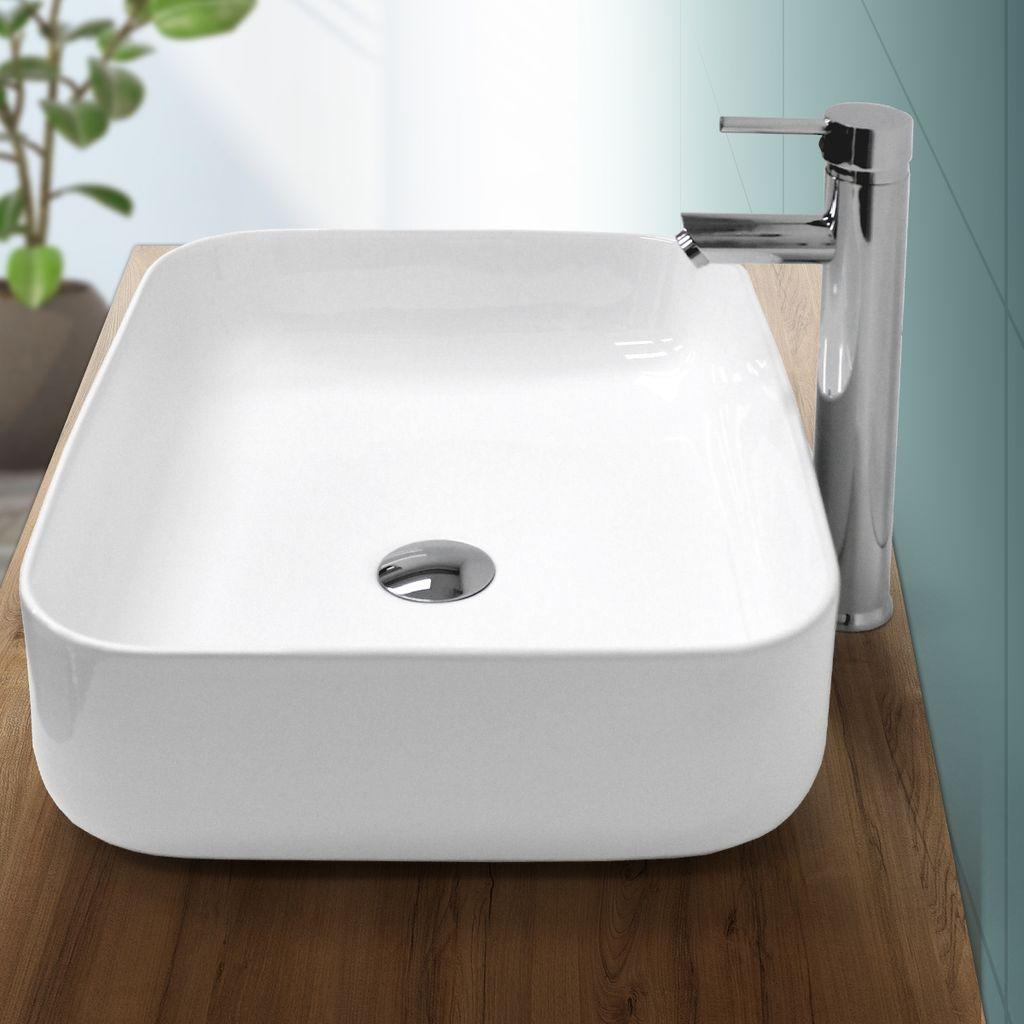 ECD Germany Waschbecken Waschtisch 20 x 20 x 20 mm aus Keramik Eckig  Weiß ohne Überlauf   Aufsatzbecken Aufsatzwaschbecken Handwaschbecken ...