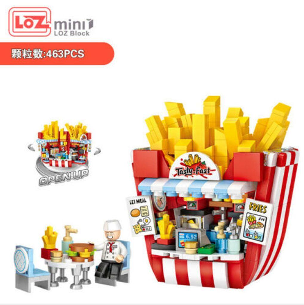 LOZ-1730 Baustein Hamburger Pommes Frites Laden Montage Spielzeug OVP 443PCS