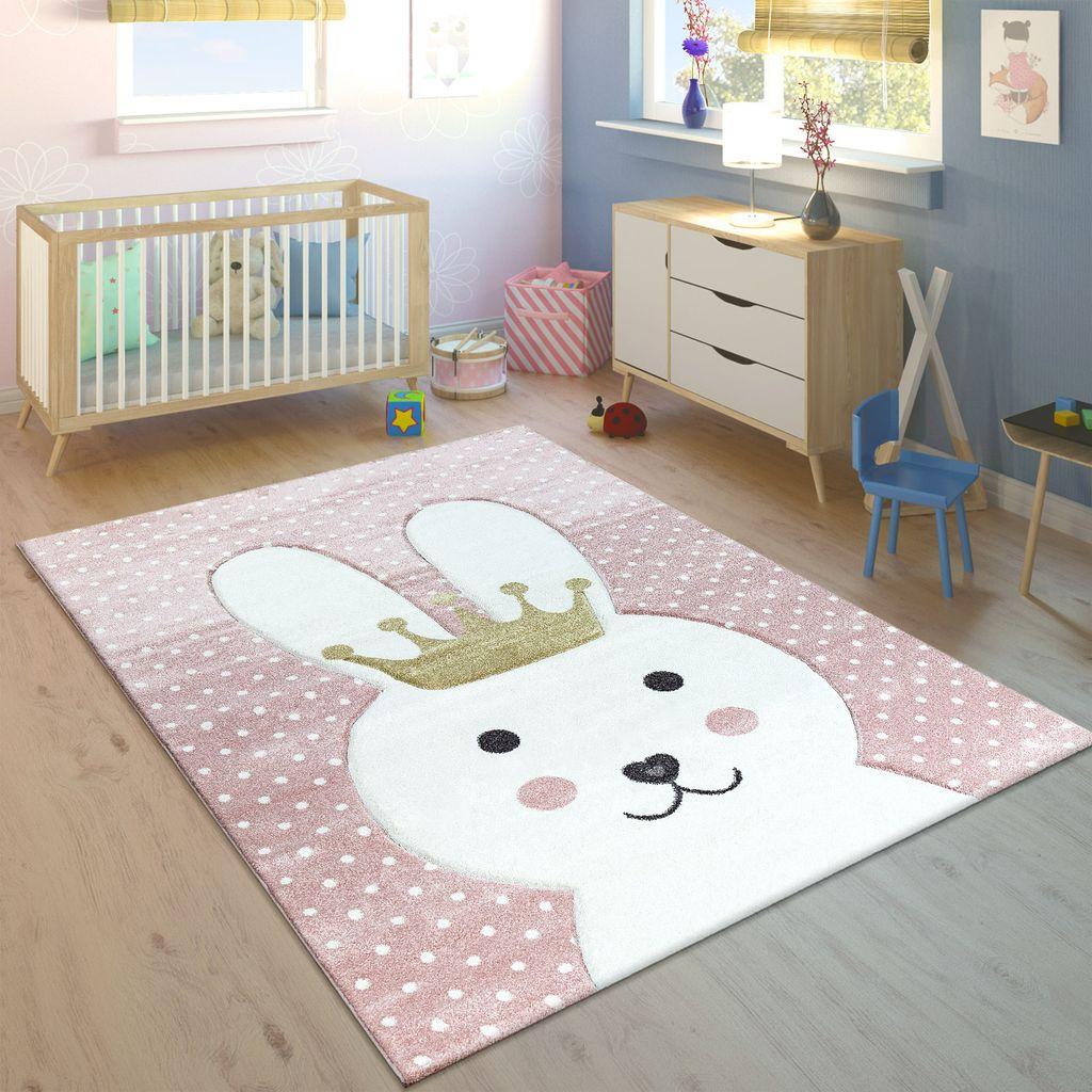 Aratextil  Teppich Kinderzimmer Kinderteppich Krone rosa//grau